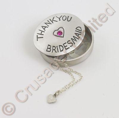 Matrimonio Regalo Ringraziamento Damigella D'onore-ciondolo Box Con Collana Nuovo-mostra Il Titolo Originale