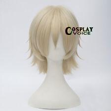 Light Blonde  Heat Resistant Short Layered 30cm Women Men Anime Cosplay Wig+Cap