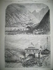 TUNNEL DU MONT SAINT-GOTHARD CHEMIN DE FER TRAIN GOESCHENEN AIROLO GRAVURES 1882