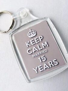 Anniversario 15 Anni Matrimonio.Keep Calm 15th Cristallo Anniversario Di Matrimonio Portachiavi