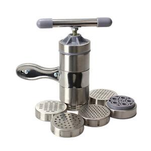 Home-Edelstahl-Stahl-Pasta-Nudel-Maker-Presse-Spaghetti-Maschine-5-Nudel-Form