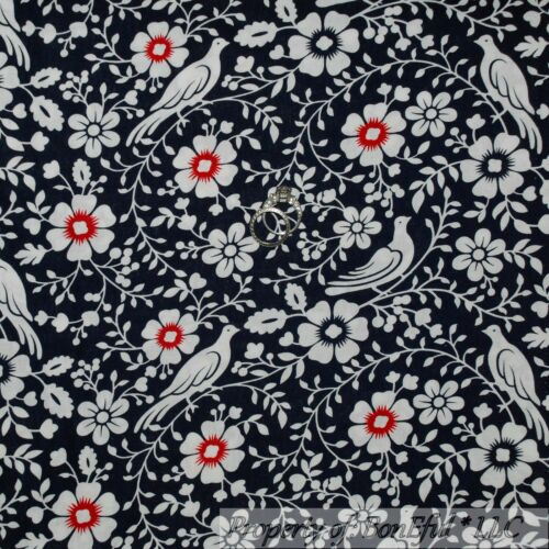 BonEful FABRIC FQ Cotton Quilt Navy Blue White Red Dove Bird Flower Leaf S Toile
