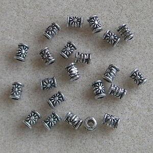 100-Tibetan-Style-Flower-Tube-Beads-Nickel-Free-Little-Crafty-Beaders