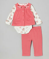 Baby Headquarters Coral Flower Patch Bodysuit Set - Size 0-3 Mos Baby Girl