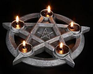 Teelichthalter-Pentagramm-5-Kerzen-Fantasy-Gothic-Deko-Kerzenhalter