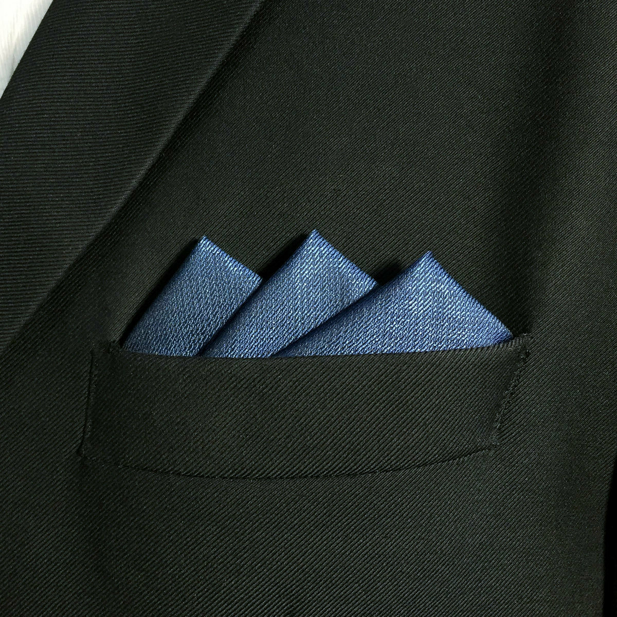 DH20 Fashion Solid Blue Pocket Square For Men 100% Silk Hanky Business