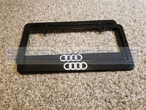 Audi Rings License Plate Frame RS3 TTRS R8 A4 S4 TT S5 SQ5 Q7 RS7 S7 Pair