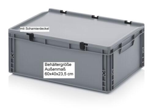 Kunststoff Stapel Behälter Scharnier-Deckel 60x40x23,5 Stapelkisten Regalboxen