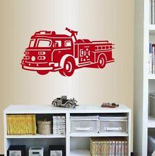 Wall Sticker Vinyl Decal Fire Truck Rescuers for Kids Room Nursery ig2017