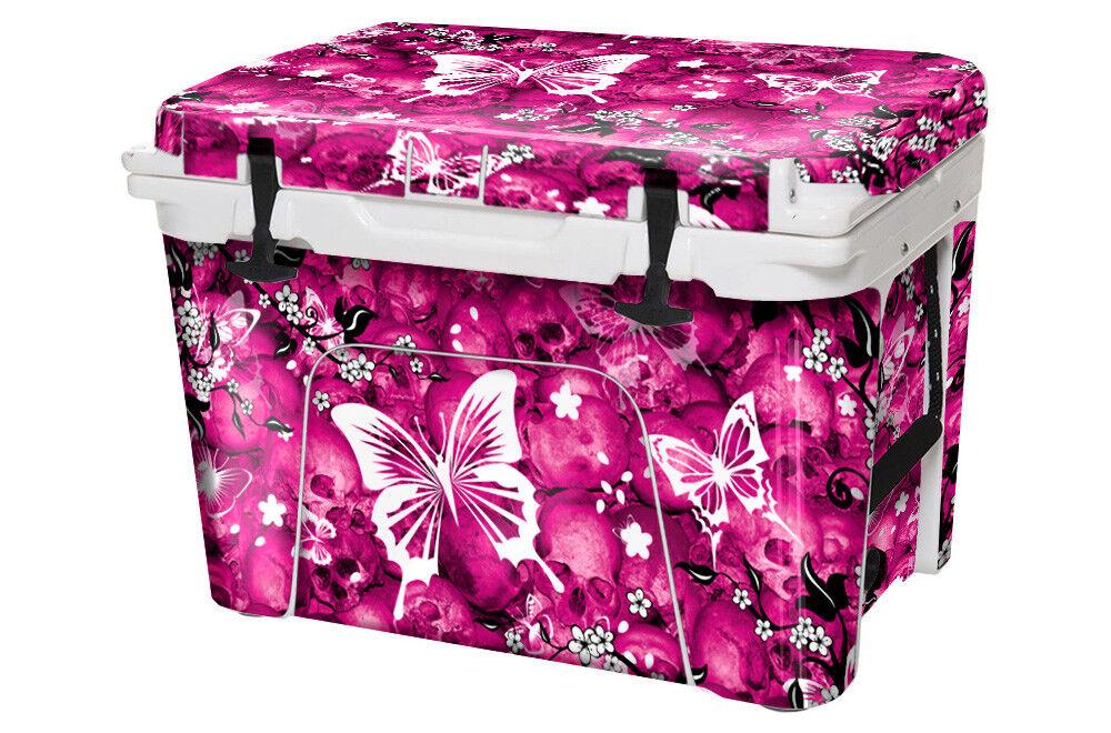 USATuff Custom Cooler fits Wrap fits Cooler YETI Tundra 45qt FULL Skulls & Butterfly Pnk b0192e