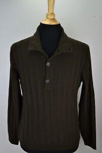Brunello-Cucinelli-Olive-Green-1-4-Button-Knit-Cashmere-Blend-Sweater-Sz-48-M