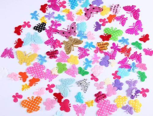 Stitch on Stick On Motif Craft DIY CraftbuddyUS 100 Mixed Fabric Butterflies