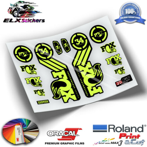 STICKERS MTB FOX 34 2016 WP57 FLUORESCENT AUFKLEBER DECALS ADHESIVE