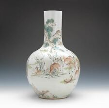 A Rare Monumental Chinese Qing Dynasty 100 Deer Famille Rose Porcelain Vase.