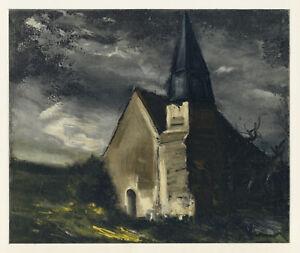 """Maurice Vlaminck """" Église Chez Saint-lubin-de-cravant """" Lithographie Par Mourlot Volume Large"""