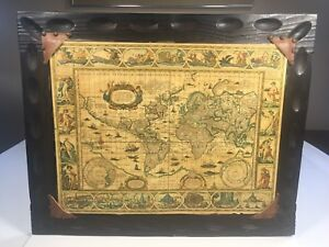 Vintage World Map Framed Reproduction Of Antique Map Wood Frame 20 X
