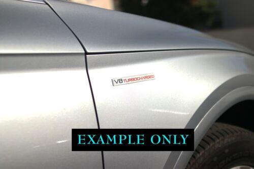 BRAND NEW Embossed Aluminum V8 TURBOCHARGED Turbo Badge Emblem Black Red 2