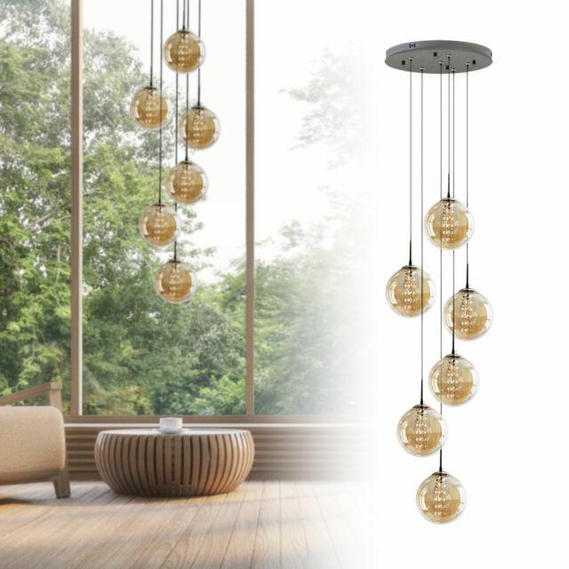 Hänge Decken Lampe Arbeits Zimmer Pendel Glas Kristall Büro Leuchte Chrom Kugel