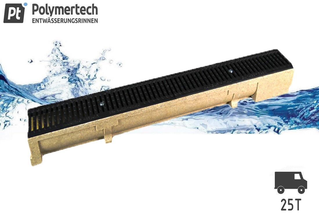Polymerbeton Entwässerungsrinne inkl. Gussrost kl. C250 bis 25 tonnen