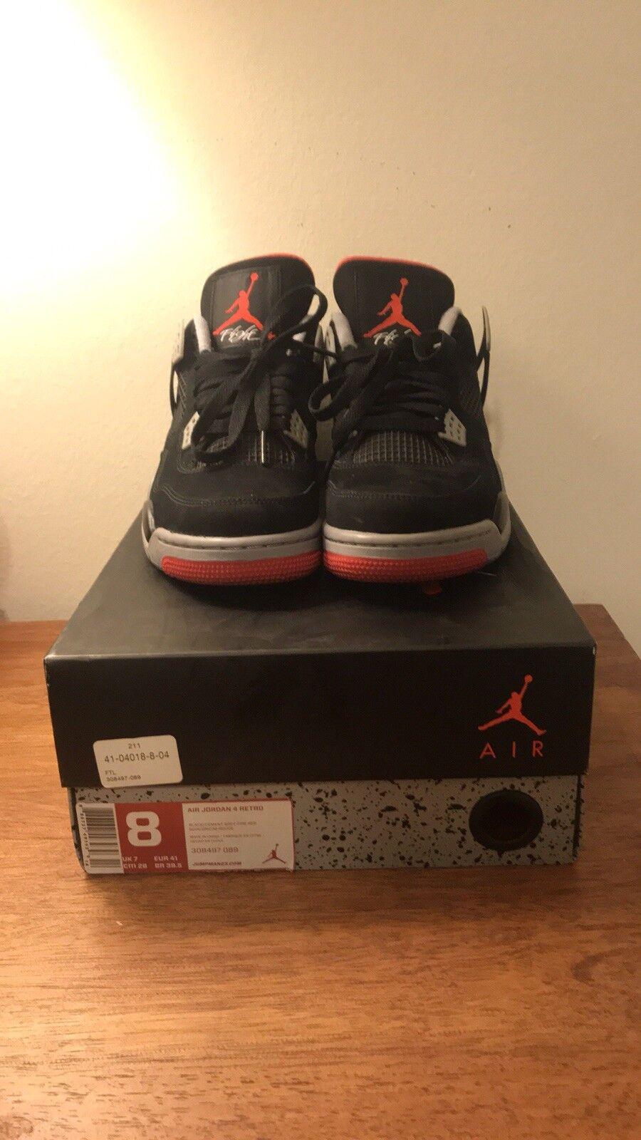 Nike Hombre zapatillas Air Jordan 4 retro zapatillas Hombre - talla 8 US, negro / rojo ddc86f