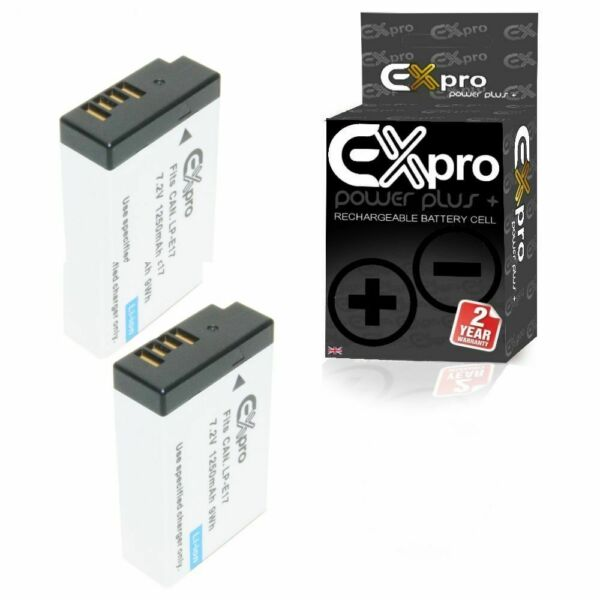 100% De Qualité Ex-pro Lp-e17 1250 Mah Appareil Photo Numérique Batterie X2 Partie Decoded Pour Canon Eos M3