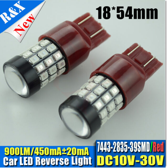 1pc T20 580 W21/ 5W 7443 LED DRL Lamp Bulb Red Light 2835 39SMD 900LM DC10V-30V