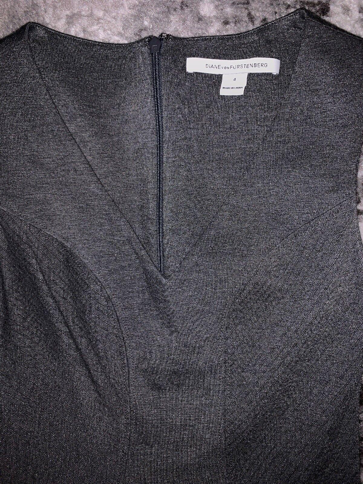 DVF DVF DVF Diane Von Furstenberg CARLA Sleeveless Stretch Flared Dress Grey Night Sz 4 25b557