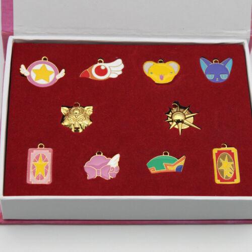 10 pcs Anime Carte Capteur Sakura Métal Collier Pendentif Keychain Set Cadeau badges
