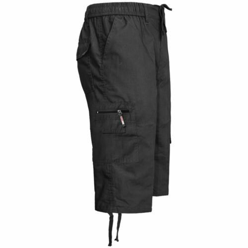 Mens Elasticated Waist Cargo Combat Plain 3//4 Shorts 6 Pocket King Size M-5XL
