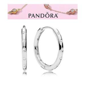 l'atteggiamento migliore 435d6 81afb Dettagli su Pandora in Argento Gocce Orecchini a cerchio S925 ALE- mostra  il titolo originale