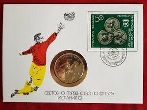 Numisbrief-Bulgarien-Fussball-WM-1982-Spanien-5-Lewa-Muenze-unc-1980-PP-Sammler