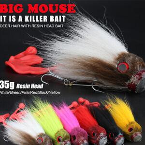 Soft-Grub-Shallow-Hooks-Kuenstliche-Maus-3D-Deer-Hair-Maus-Lure-Big-Pike-Bait
