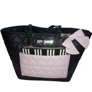Details zu Betsey Johnson Damen Tasche Handtasche mit MakeUp Bag und Rosa Schleife