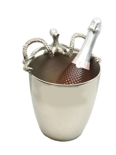 silber Luxus Sekt Kühler Octopus aus Alu Edler Champagner Kühler Krake Weink