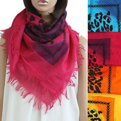 """68/"""" Double Design Silk Scarf Wrap Shawl Vivid Floral Leopard Print Oil Paint"""