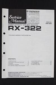 Pioneer-rx-322-Original-stereo-platine-cassette-Recepteur-manuel-de-service