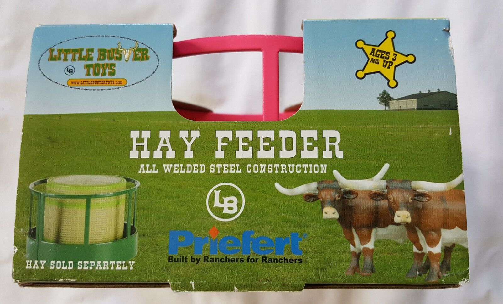 Green 1//16th Scale Blue or Pink Perfect for Round Hay Bales Little Buster Toys Hay Feeder Comes in Red