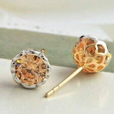 Jewel Yellow Gold filled earring Champagne Crystal stud Earing free shipping