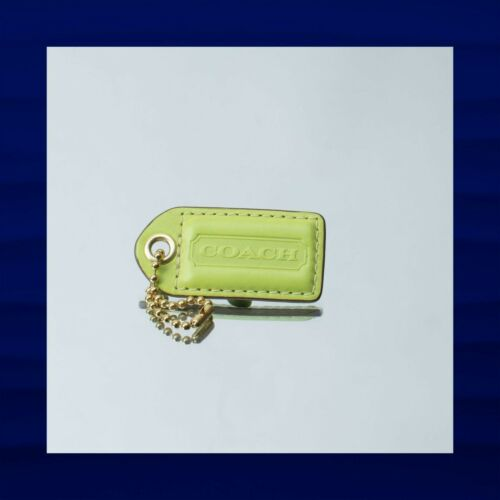 2.5″ Large COACH LIME GREEN LEATHER GOLD KEY FOB B