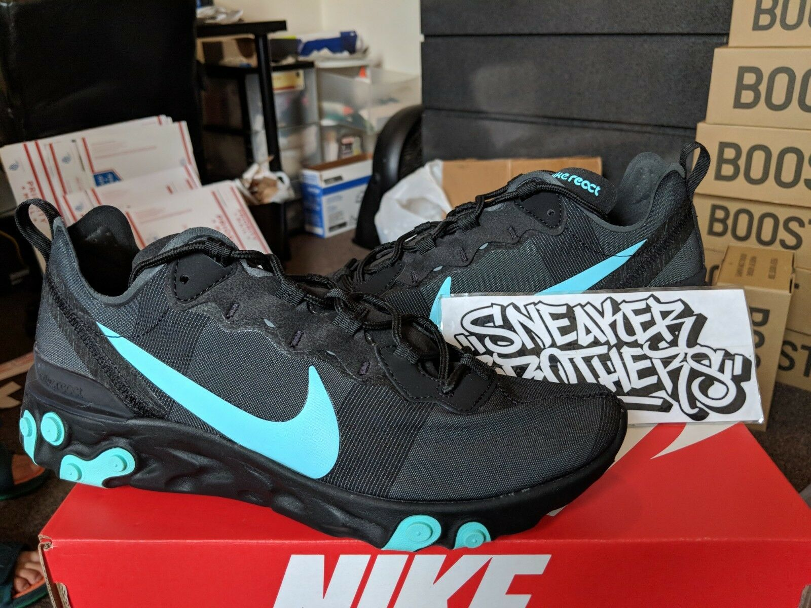 7398079585d56 Nike React Element 55 Black Jade Teal blueee Aurora Green Running BQ6166-004