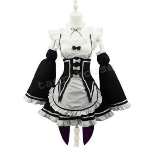 Cosplay Re:Zero Kara Hajimeru Isekai Seikatsu Ram Rem Kostüme Maid Kleid