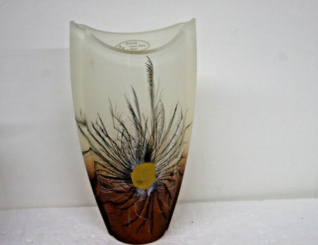 ACL Brand Vase Amber Feather design Exquisitely mouth blown in Poland