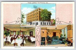 Valparaiso-Indiana-Hotel-Lembke-Dining-Room-amp-Lobby-1930s-Art-Postcard-Linen