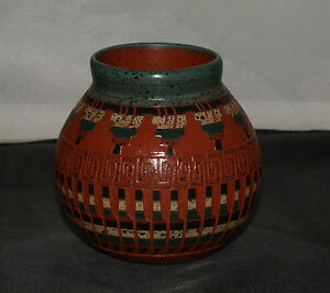 Medium-Pot-with-Multi-Color-Detail-by-Elaine-Begay-Navajo