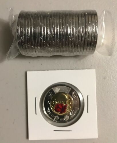 CANADA 2018 New $2 Toonie 100th Ann Armistice 1918 COLOR UNC From mint roll