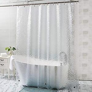 OTraki Long Shower Curtain Liner 72 X 96 Inch 3d Clear Bath Curtains
