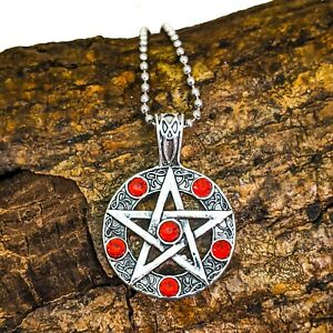 US Seller Pentagram Glass Pendant Handcrafted Necklace W Chains Black Red Blue
