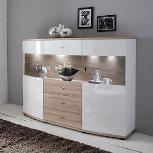 neu highboard hochglanz wei eiche s gerau sideboard led anrichte kommode ebay. Black Bedroom Furniture Sets. Home Design Ideas
