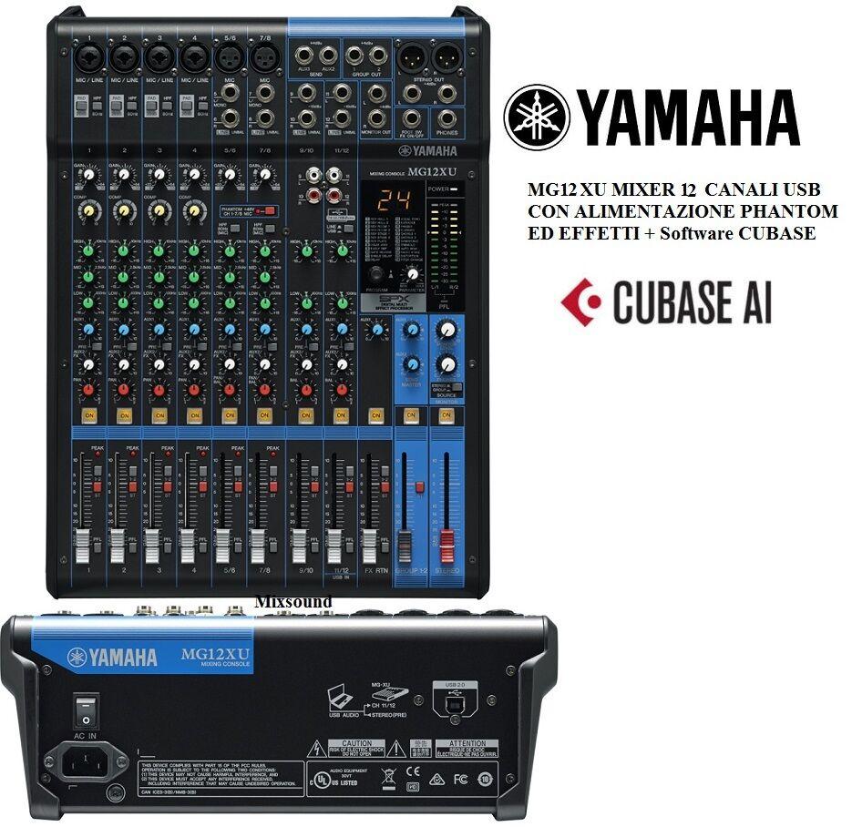 Mixer MG12XU YAMAHA Mixer analogico USB 12 canali con effetti COMPRESSORE CUBASE