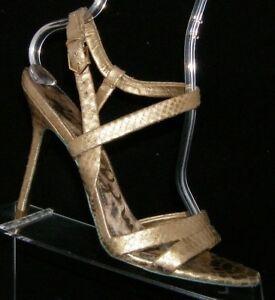 Sam Edelman 'Abbott' gold leather snake print ankle strap sandal heels 9.5M
